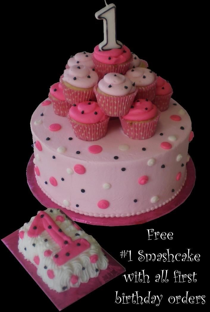 Cupcake 1st Birthday Cake Pink Buttercream Iced Round Decorated With Cupcakes And Dots