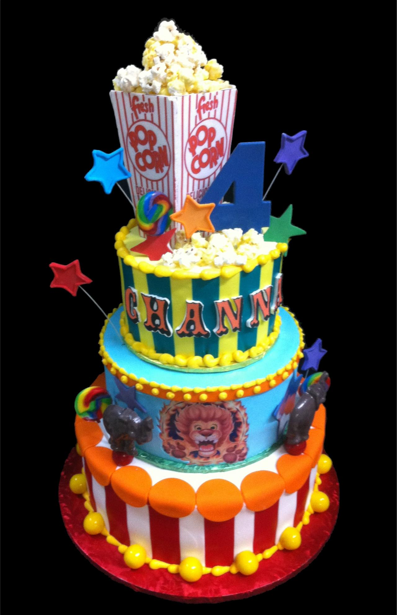 Circus Birthday Cake Yellow Blue And White Buttercream Iced 3 Round Tiers Decorated