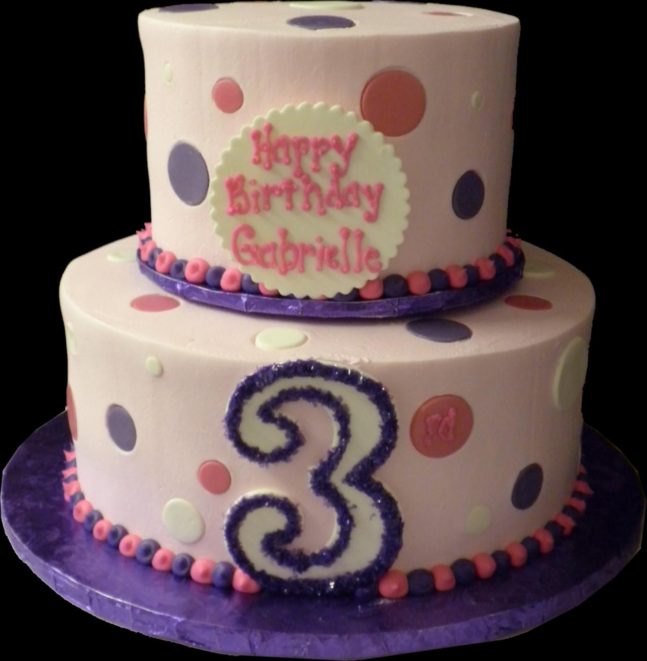 Polka Dots 3rd Birthday Cake Pink Buttercream Iced Round 2 Tiers Decorated With