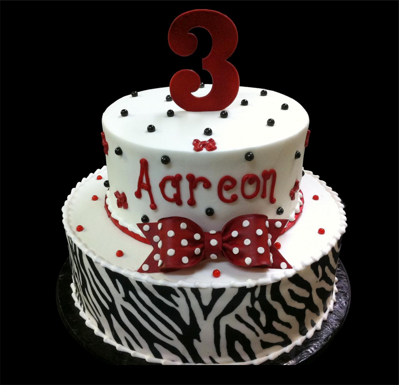 3rd Birthday Cake White Buttercream Iced 2 Round Tiers Decorated With Bows Dots