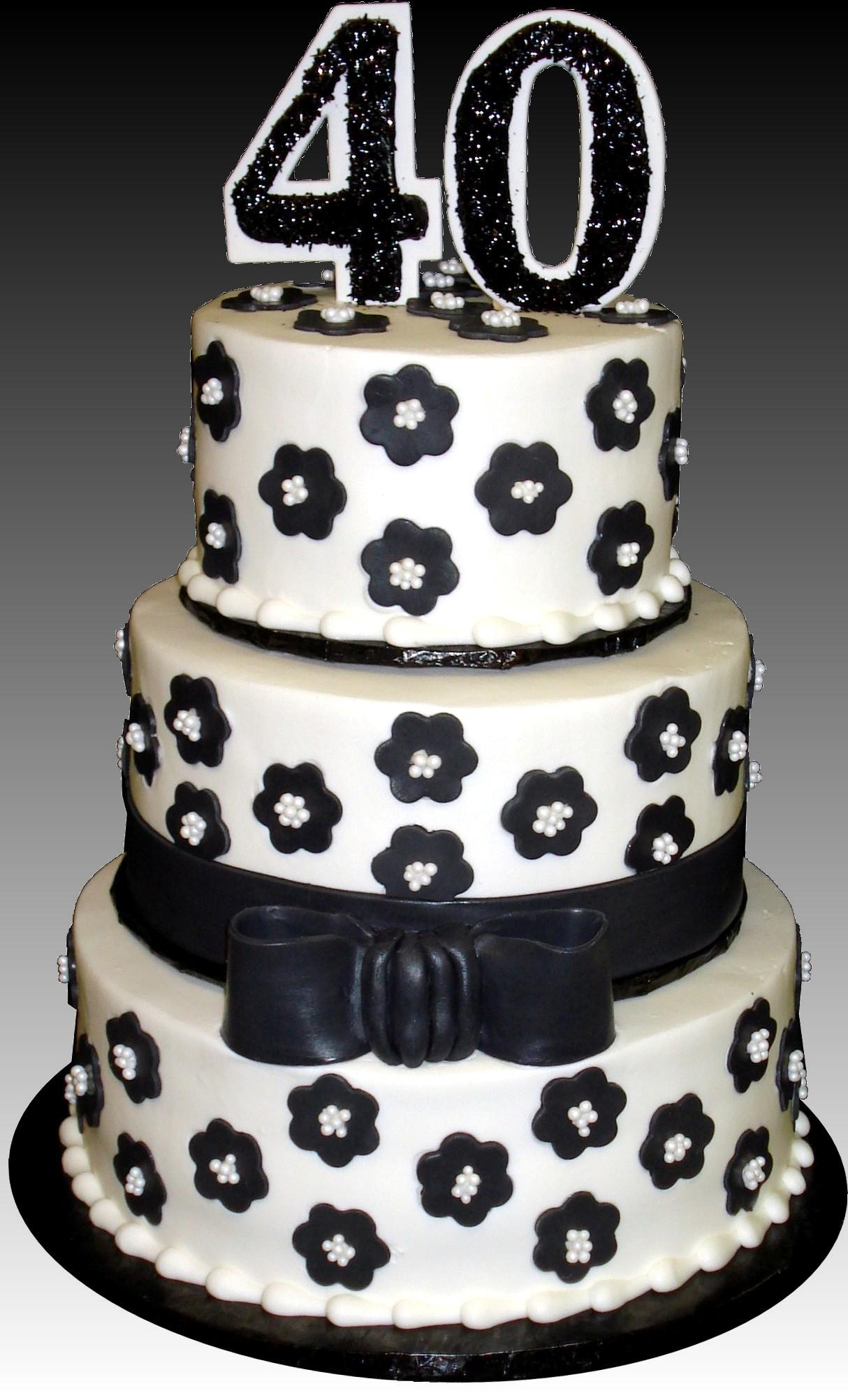 Black Flowers White Pearls 40th Birthday Cake Buttercream Iced Round 3 Tiers