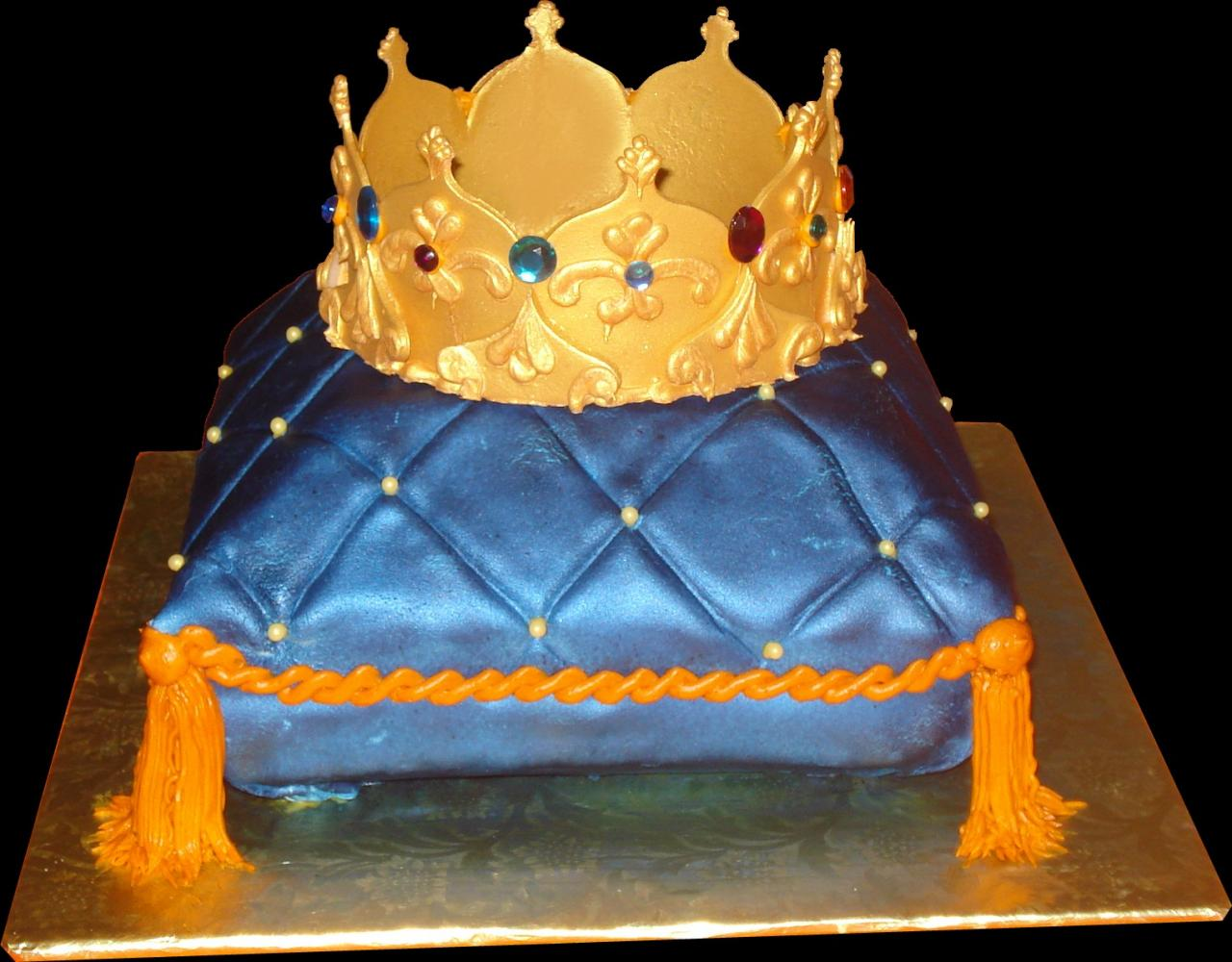 Crown Pillow Birthday Cake Blue Buttercream Iced Shaped Decorated With Tassels