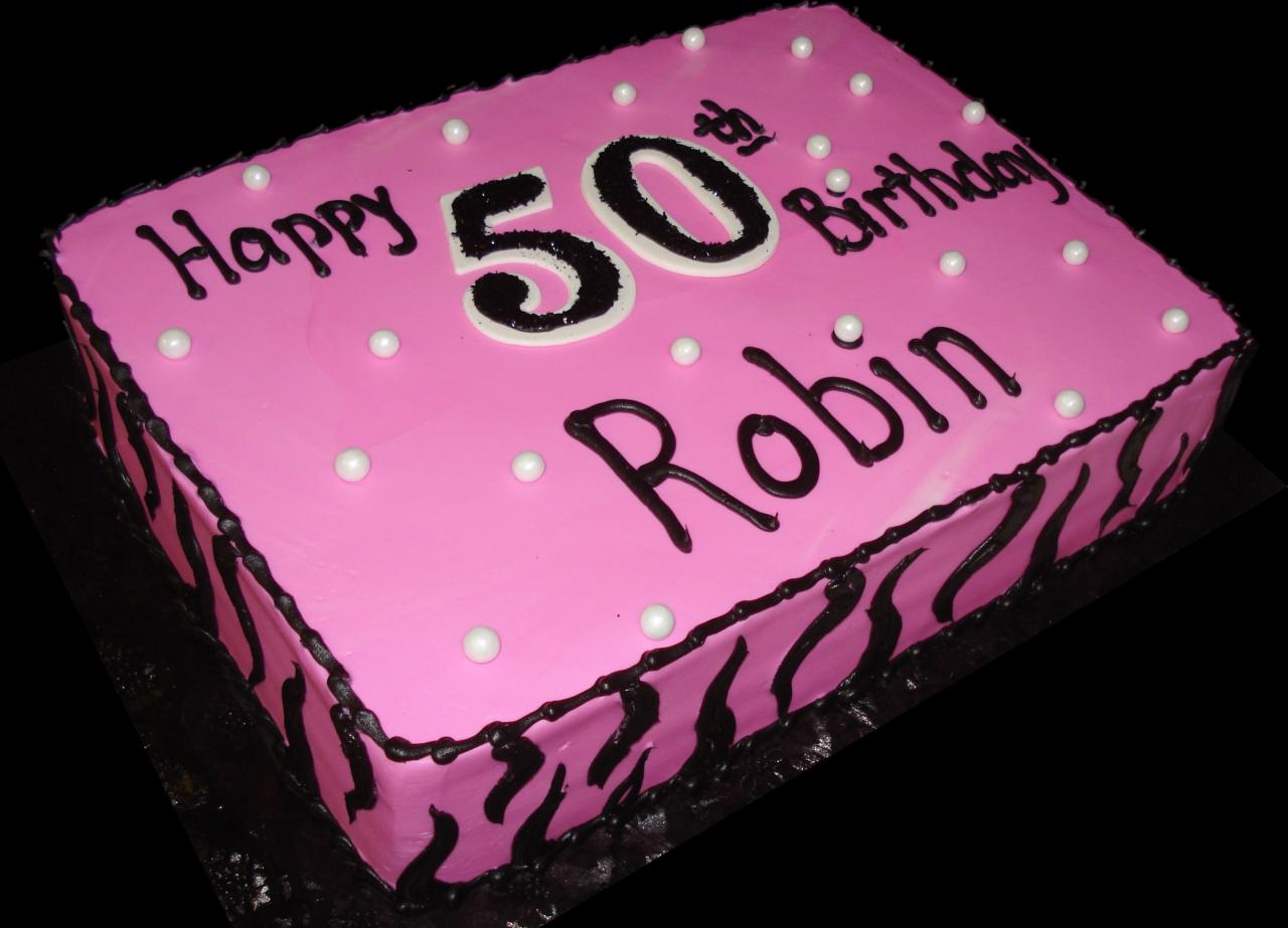 Pink Passion 50th Birthday Cake Buttercream Iced Sheet Decorated With White Pearls
