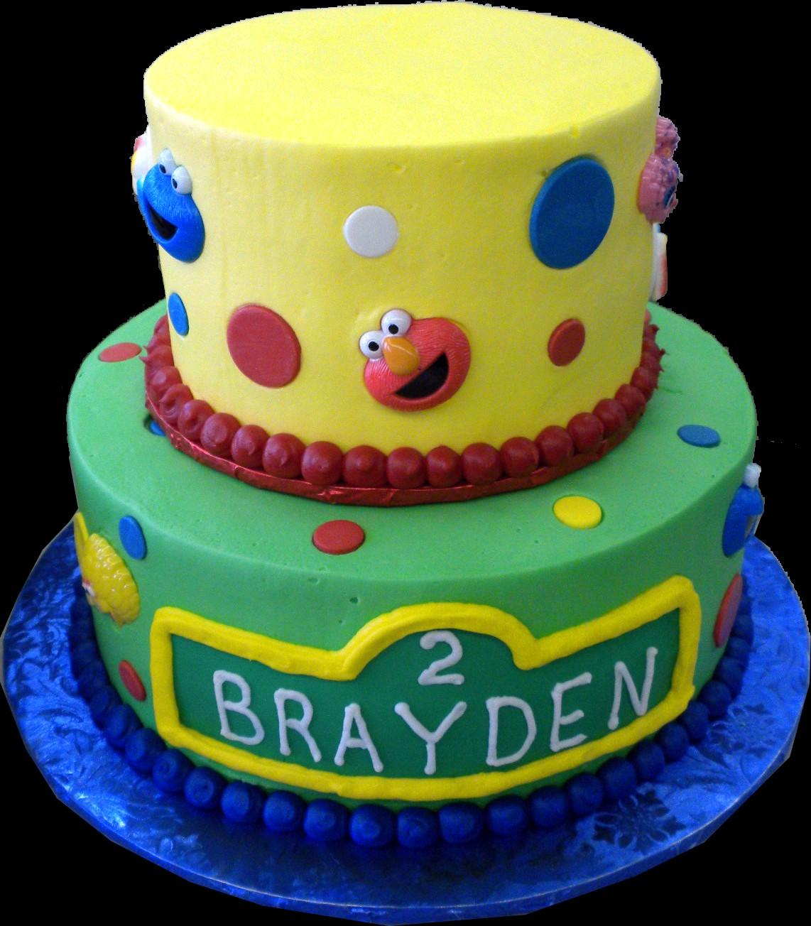 Sesame Street 2nd Birthday Cake Yellow And Green Butercream Iced Round 2 Tiers Decorated