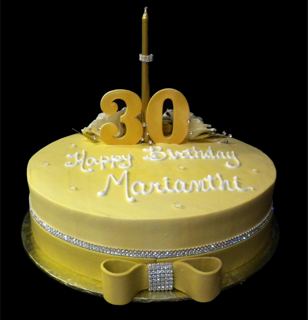 Diamonds Are A Girls Best Friend 30th Birthday Cake Gold Buttercream Iced Round