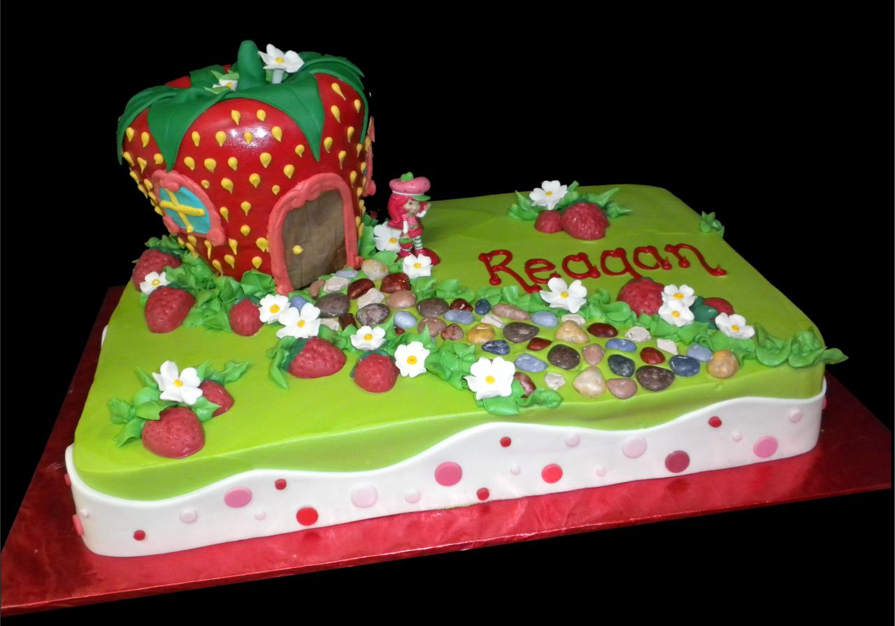 Strawberry Shortcake Birthday Cake, Green buttercream iced, sheet cake ...