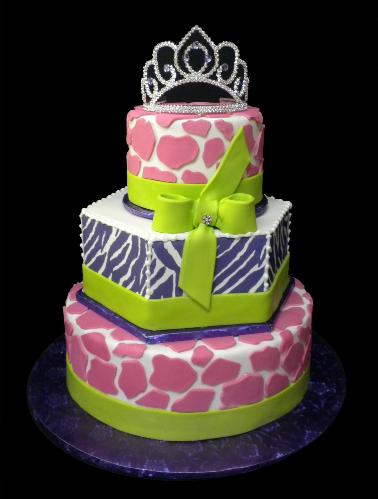Animal Print Birthday Cake White Buttercream Iced 3 Tiers Round And Hexagon Decorated With