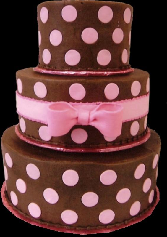 Pink Dots Birthday Cake Chocolate Buttercream Iced Round 3 Tier Decorated With