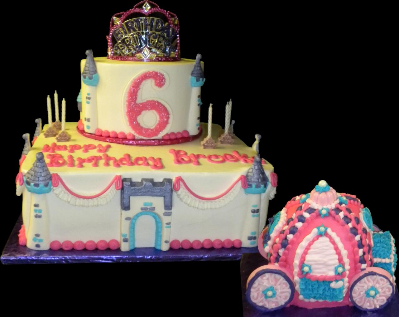 The Princess Castle And Carriage 6th Birthday Cake White Yellow Buttercream Iced Round