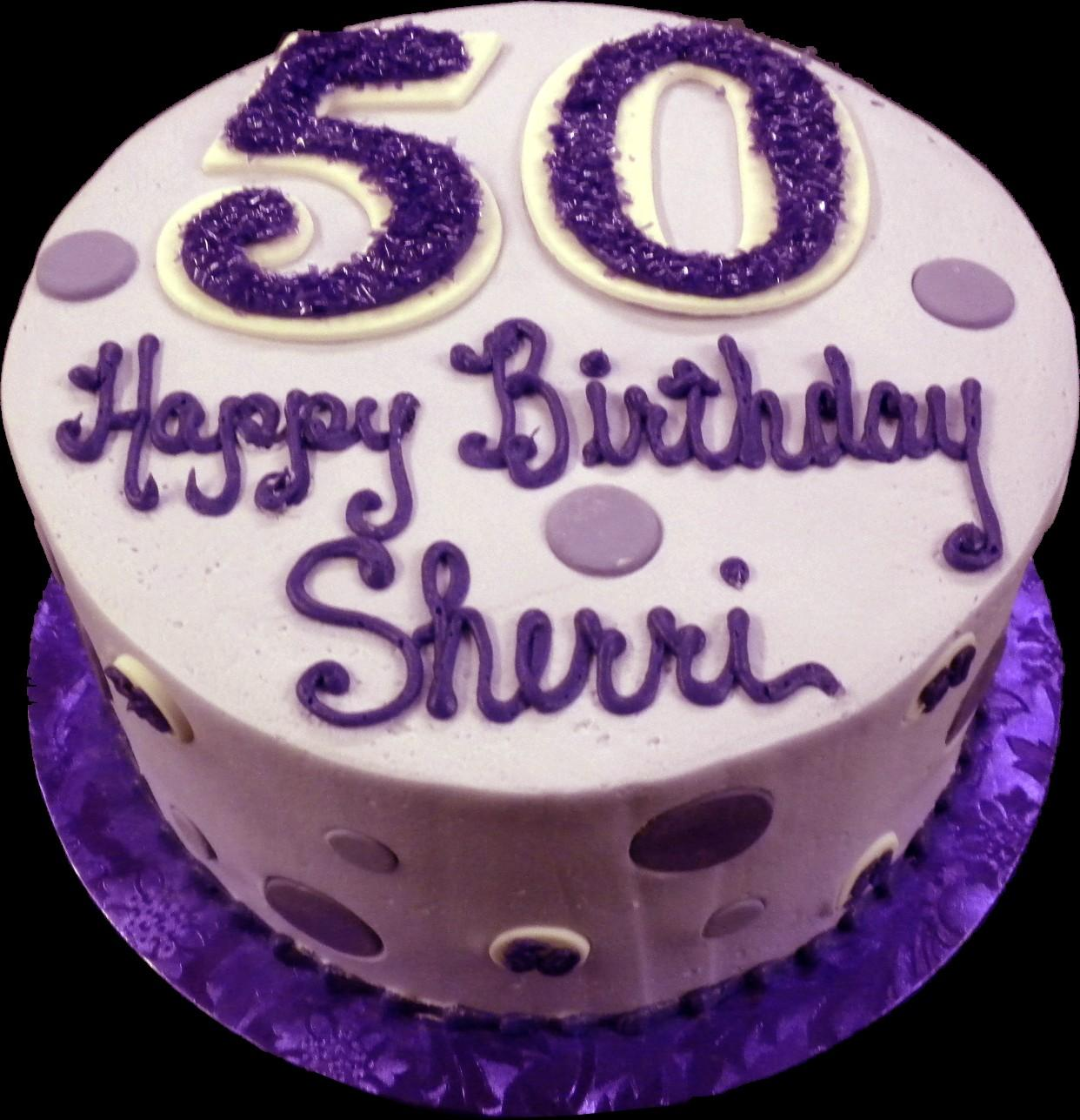 Purple Polka Dot 50th Birthday Cake Buttercream Iced Round Decorated With