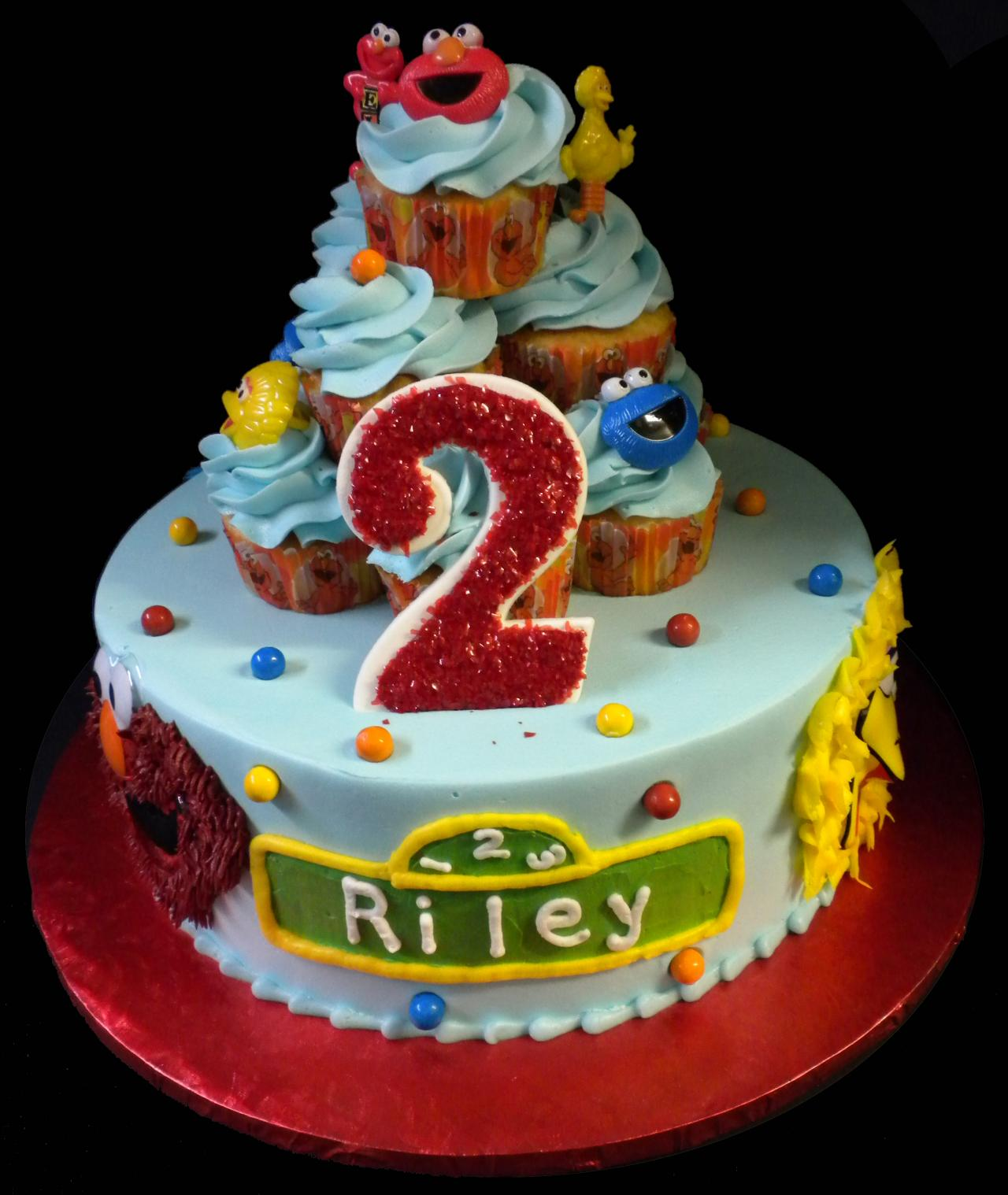Sesame Street Cupcake 2nd Birthday Cake Blue Buttercream Iced Round Decorated With