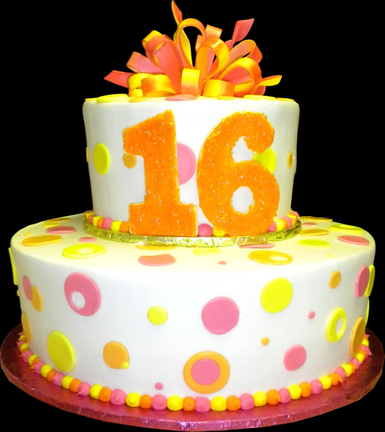 Sweet 16 Birthday Cake White Buttercream Iced 2 Round Tiers Decorated With Dots
