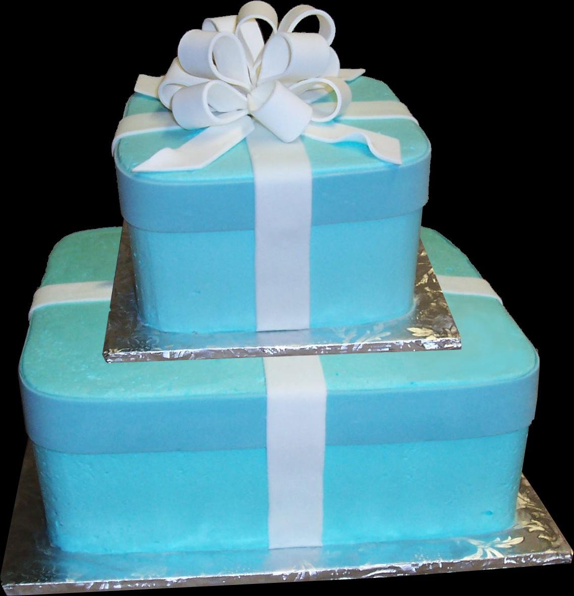 Gift Wrapped Birthday Cake Blue Buttercream Iced 2 Square Tiers Decorated With Fondant Ribbon