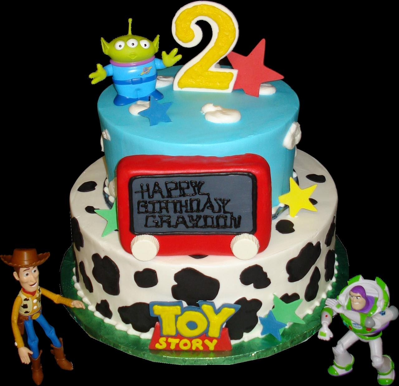 Toy Story 2nd Birthday Cake Blue And White Buttercream Iced Round 2 Tiers Decorated