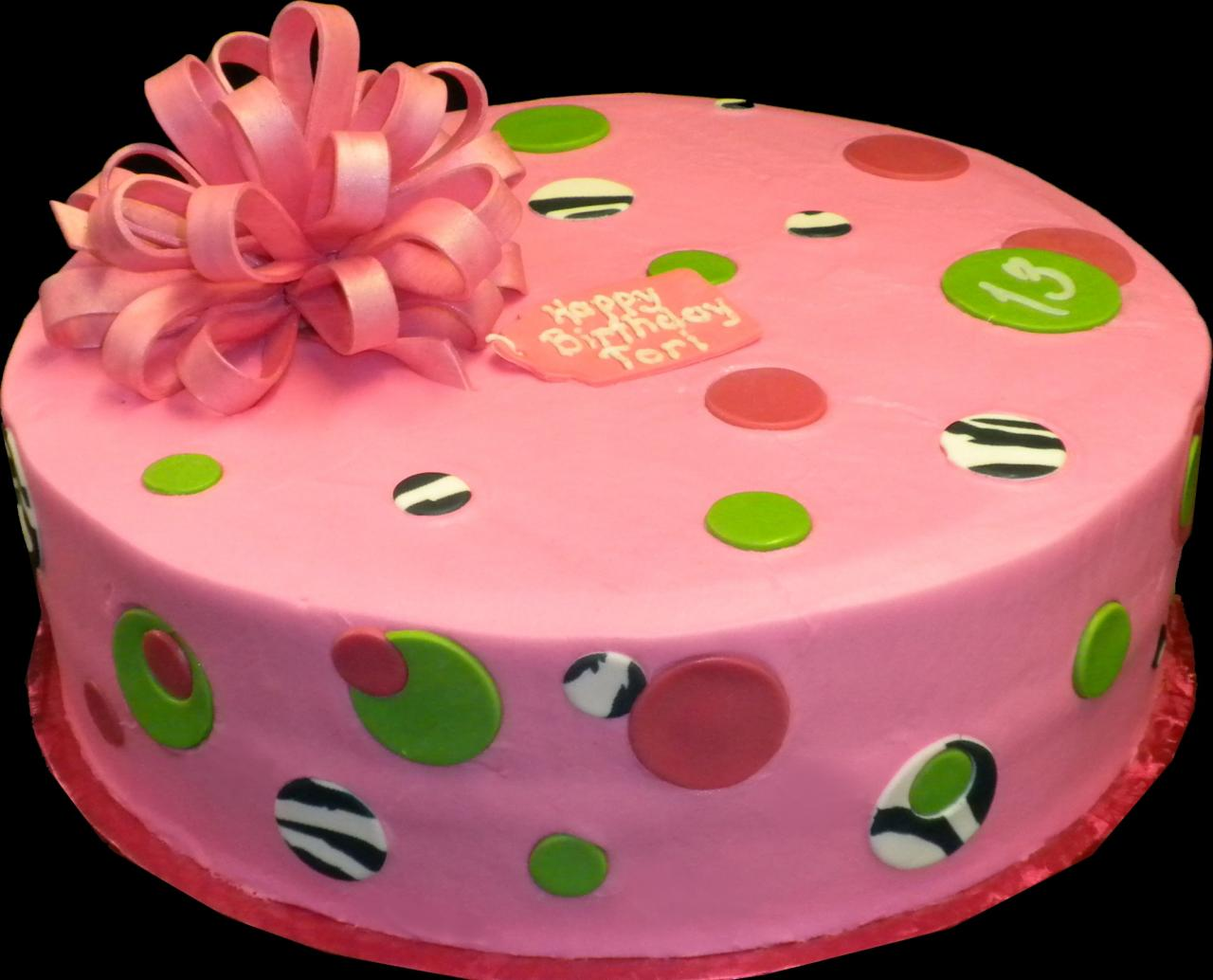 Birthday cakes sugar showcase dots and bow birthday cake pink buttercream iced round decorated with circles dots izmirmasajfo