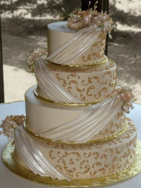 Lilies On A Drape Wedding Cake