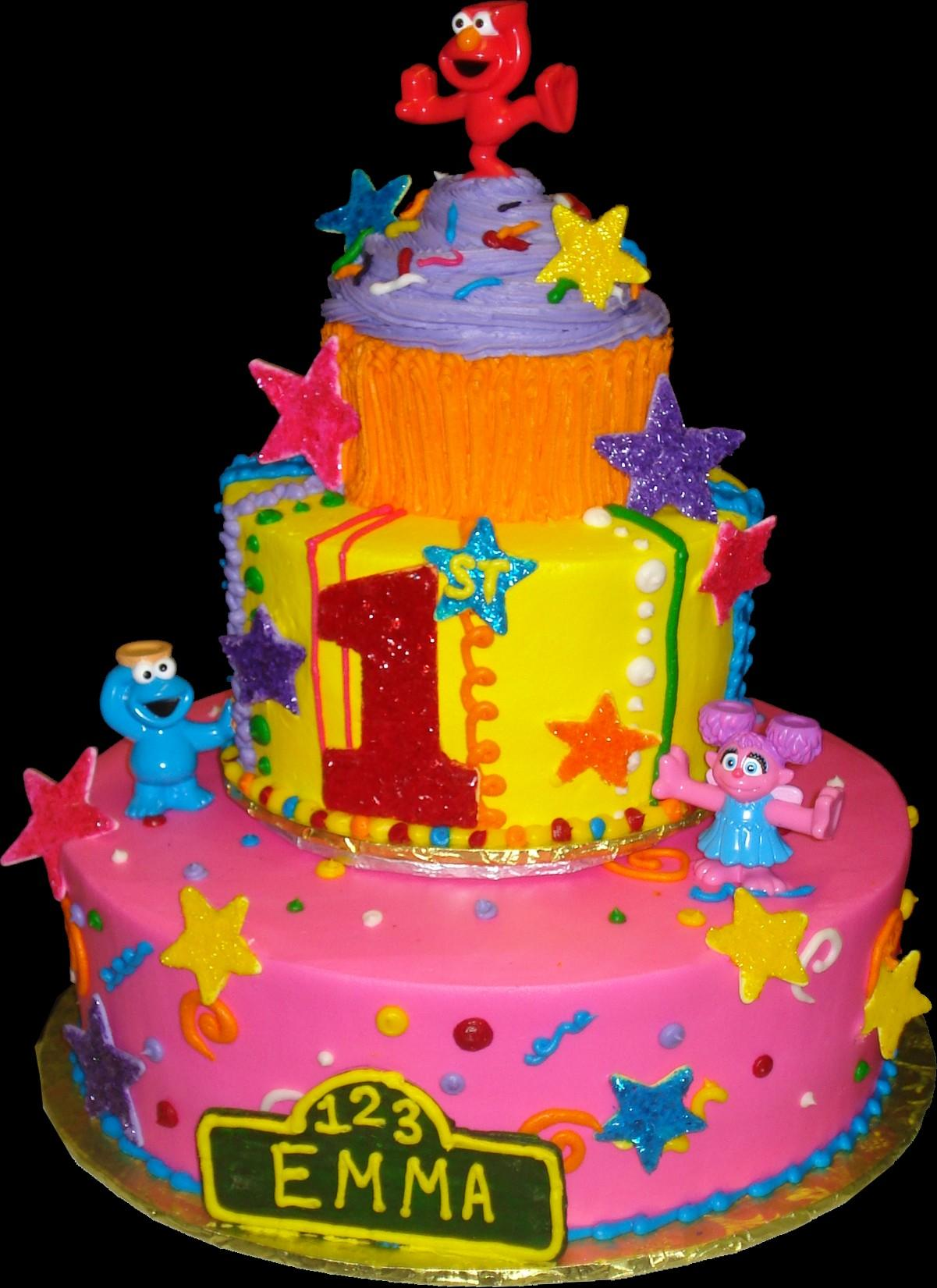 Sesame Street 1st Birthday Cake Buttercream Iced 2 Round Tiers Decorated With Stars