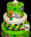 Jungle Dots 1st Birthday Cake. Green and white buttercream iced, round 3 tiers decorated with zebra faces, lion faces, dots. Everything on this cake is edible. (Serves 48-135 party slices.)