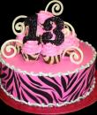 Zebra Pink 13th Birthday Cake. Pink buttercream iced, round decorated with a zebra print pattern, swizzles and topped with pink frosted cupcakes. Everything on this cake is edible. (Serves 8-80 party slices.)