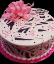 Pretty in Pink Zebra 16th Birthday Cake. Pink buttercream iced, round decorated with zebra print, dots and a giant pink bow. Everything on this cake is edible. (Serves 8-80 party slices.)