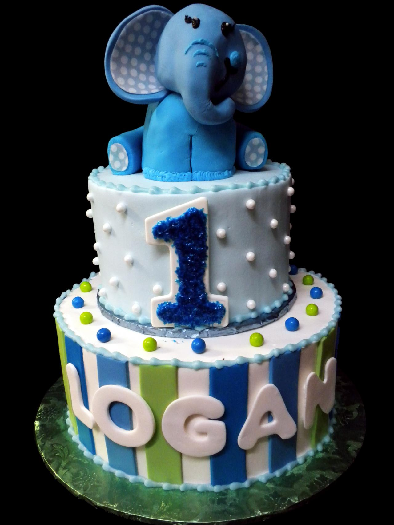 Elephant 1st Birthday Cake Blue And White Buttercream Iced 2 Round Tiers Decorated With