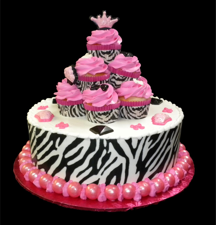 Zebra Princess Birthday Cake White Buttercream Iced Round Decorated With An Edible Stripe