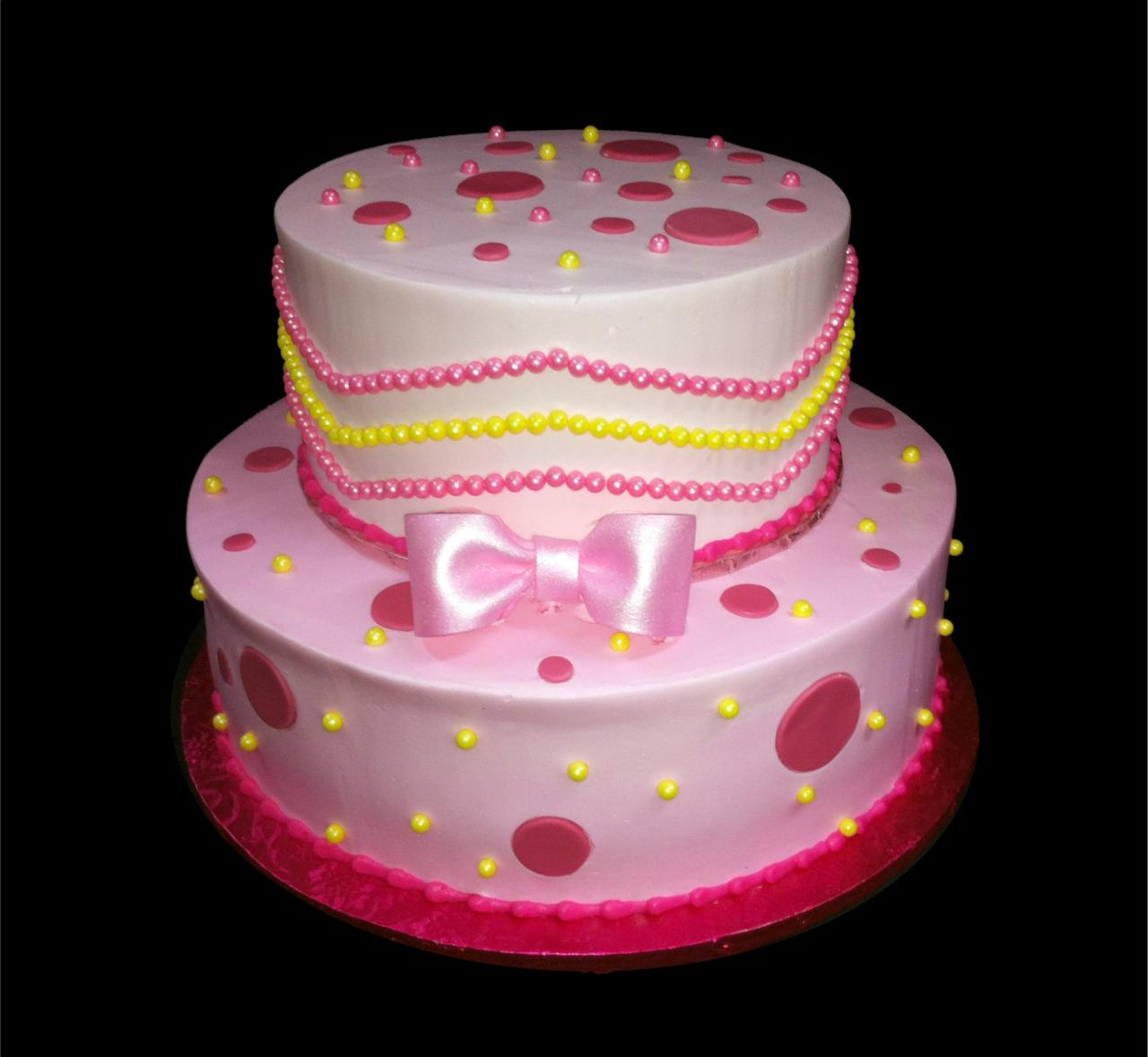 Pink Bowtie Birthday Cake Buttercream Iced 2 Round Tiers Decorated With Dots